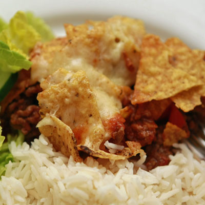 Chilli con Carne with tortilla crisps and cheese