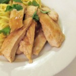 Chicken baked in ginger and lime with noodles