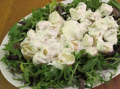 Warm potato salad with Yoghurt, lemon and chive dressing