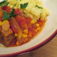 Sausage Casserole with mashed potatoes