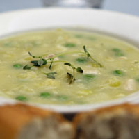 Chicken and Leek Soup with homemade bread