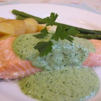 Salmon with orange and watercress sauce
