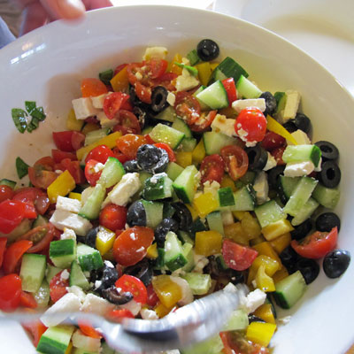 Greek-pasta-salad-prep. The inspiration came from a Jamie Ol..